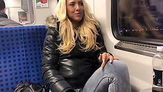 Horny MILF Daynia XXX Blows A Guy She Just Met In Public Transport