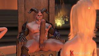 Fire Demon Fucks Hard Young Beautiful Blonde In The Dark Castle
