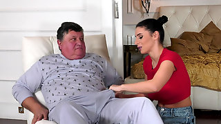 Sexy Housekeeper Nelly Kent Takes Good Care Of An Old Man
