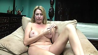 Charming Platinum Mature Female Is Playing Herself
