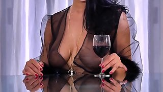 Sexy Dark Haired, Kira Goddess Is Dressed In A Sumptuous, Black Bathrobe To Entice A Boy She Enjoys