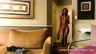Skinny Ebony Babe Takes A Huge White Cock