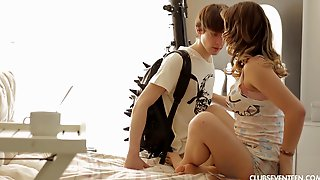 Teen Lovemaking With A Brunette Goddess That Loves Dick
