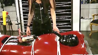 Lady Ashley - Black Rubber Handjob Femdom