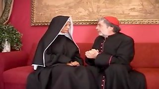 Tanned Thicc PAWG Leggy Curvy Big Tits Desperate Blonde Nun Enjoys Fat Old Perv Priests Thick Cock In All Holes To Creampie - Anal