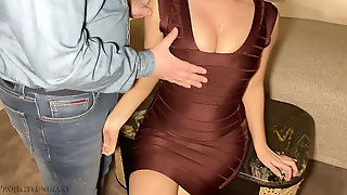 Meeting A Luxury Escort Woman In Marvelous Figure-hugging Dress For Drilling In A Hotel