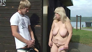 Old Mature Blonde Rides Strangers Cock Outdoors