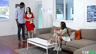 MILF Invited Her Black Lover To Fuck Her Foxy Stepdaughter