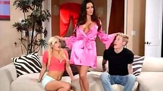Sex Hungry MILF Fucks Her Stepson And His Wife In The Living Room