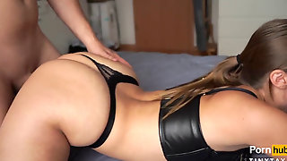 Scorching Curvaceous Teen Gets Wet In Leather Underwear - TinyTaya
