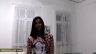 THIN HUNGARIAN GIRL CASTING With Her REAL AGENT!