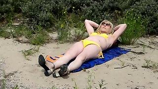My Mrs On A Dunewalk And Taking A Bikini Sunbath