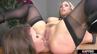 Ass Toyed By A Huge Dildo After Getting Aslicked By Brunette
