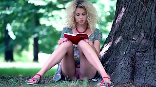 Beauty Blonde Reads A Book Outdoor