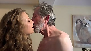 Lascivious Older Man Is Screwing A New Teen Floozy In Many Poses, In A Hotel Room