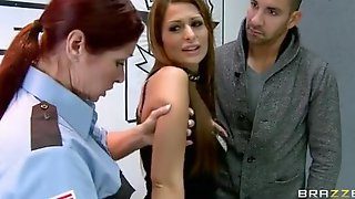 Hawt Bigtit Brunette Hair Whore Drilled For Her Crimes In Police Station