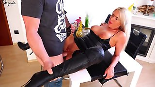 Kinky Blond In Ebony, Latex Boots With High Heels Had Anal Sex In Advance Of Getting A Golden Shower