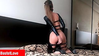 Hot Chick In Ebony Latex Suit Drilled Hard. Part 1
