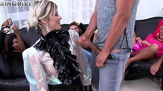 Woman In A Ebony, Satin Blouse Got Down On Her Knees To Suck A Massive Rod
