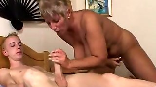 Breasty Grandma Caught Her Stepson Masturbating