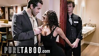 Curly-haired Nympho Is Shared Between Her Husband And A Young Bartender Separately
