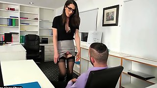 TS Secretary Melanie Brooks Gets Ass Banged By Her Boss