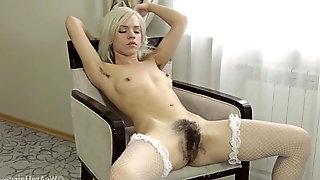 Hairy Woman Selena Loves Modeling Lingerie
