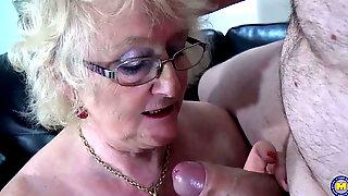Dirty Granny Sucks And Fucks Young Big Cock