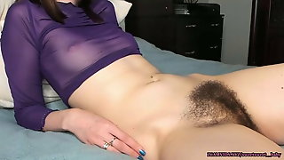 Fingering Her Hairy Pussy And Anus