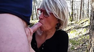Obscene Minded, Blond Mother Id Like To Fuck Is Sucking A Concupiscent Strangers Knob In The Forest, During The Day