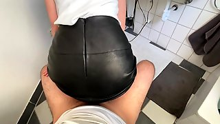 Amateur Stepmom Gets Drilled In Her Leather Petticoat - Cum On Leather Butt