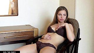 Barefoot And Shaggy Single Youthful Mama Nadine Fingering Vagina