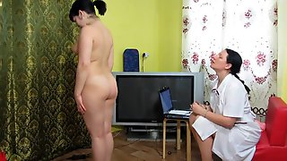 A Brunette Hair Is Being Examined By A Older Doctor Homemade Roleplaying Fetish Game Of 2 Lesbos Hairless And Hirsute Twat Closeup