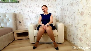 Upskirt Fetish. Nylons, Heels And Buttplug Two. The Chair
