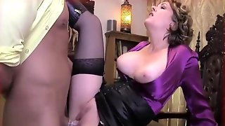 Large Titted Older In A Satin Blouse And Erotic Nylons Is Riding A Younger Studs Hard Cock