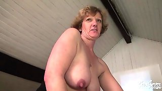 Large Titted, Golden-haired Granny Is Doing Astonishing Stuff With Her Younger Lovers Cock, To Make Him Cum