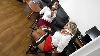 2 MILFs Fastened And Gagged