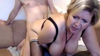 Corpulent Blond Housewife With Large Milk Jugs Is Wearing Ebony Nylons During The Time That Cheating On Her Spouse