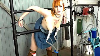 Piercing Girl Milked And Fucked In The Garage