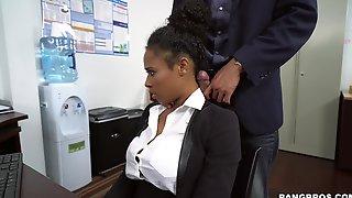 Muscular Man Roughly Fucks Ebony Secretary At The Office