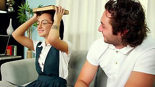 Young Brunette Student Screwed In Doggy By Her Tutor - Monica Mattos