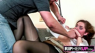 Hot Brunette Gets Stockings Ripped