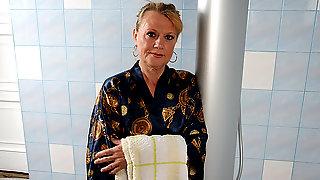 Horny Mature Slut Getting Dirty In Her Bathroom - MatureNL