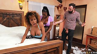 Ebony Darlings Demi Sutra And Ebony Mystique Share A Large Hite Dick