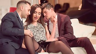 Fake-boobed Chick Nataly Gold Is Enjoying Nicely Fucked By Two Men