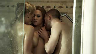 Two Big-breasted Bitches Share A Schlong In The Shower