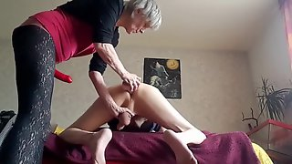 Dominant Granny Strapon Pegging Her Submissive Hubby - Fetish
