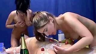 Food Fetish Lesbian Threesome With Some Curvy Lusts