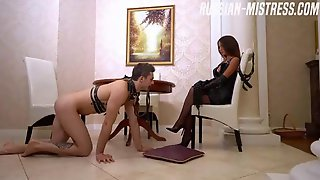 Submissive Dude Is Worshiping Sensual Feet Of His Russian Mistress, Lana Roy, Before Eating Her Up
