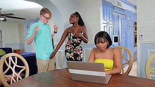 Interracial Quickie In The Kitchen With Large Boobs Osa Lovely